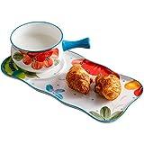Warm zjyhpm Teller Handbemalte Ein-Personen-Essen Keramik-Frühstück 2-Teiliges Besteck-Set Western-Schüssel Griff Große Bauch Tasse Haferbrei Schüssel
