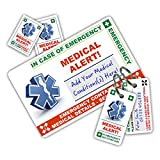 MEDICAL ALERT In Case of Emergency (I.C.E.) Card Pack with Key Rings & Stickers from ICEcard. Wallet size card with WRITABLE reverse to carry Emergency Contact & Medical / Medication Information. Suitable for anyone with Acute Medical Conditions (Standard)