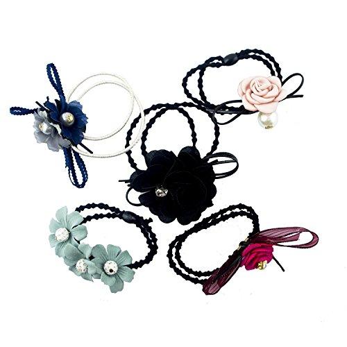 HAND Bandeaux pour Les Cheveux Jolie avec des Fleurs Assorties à la Main et Créations de Perle avec Double Brin Élastiquée Boucles - Pack DE 5