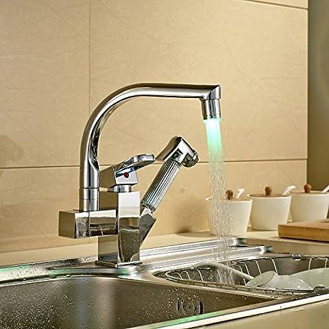 ROZIN Rozinsanitary Robinet mitigeur avec douchette pour évier de cuisine - Finition chromée - LED à couleur changeante - Installation sur surface