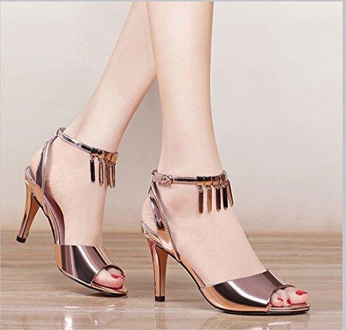 XY&GKWomen's High Heels Sommer Sandalen fein All-Match Schuhe 34 gold j4Mh35WH9n