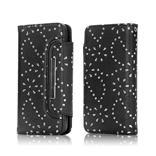 JIALUN-Telefon Fall Magnetische Klappe Gürtelschnalle 2 in 1 Abnehmbare Koffer PU Leder Flip Stand Brieftasche Case Cover für iPhone 7 Plus ( Color : Gold ) Black