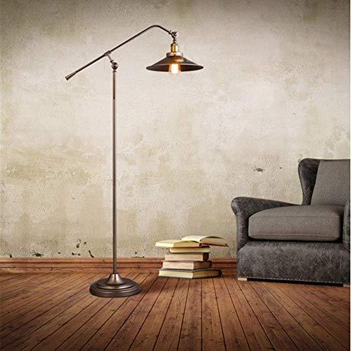 RSGK Metall-Stehlampe, industrielles Retro-Design, mit verstellbarem Kopf, Leselampe mit E27-Sockel, fürsorglichen Arbeitszimmer, Schlafzimmer und Büro - Moderne Deckenfluter Ist