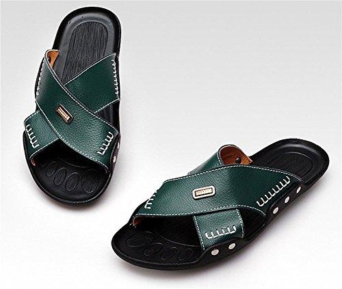 insun hommes en cuir de coutures pantoufle sandale Vert - vert