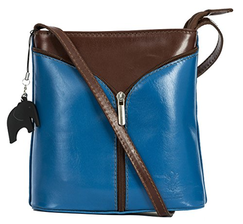 vera italiana Big pelle Handbag tracolla Trim Brown Electric Shop a piccola Blue Borsetta A8YFn08x