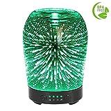 Aroma Diffusor COOSA 100ML Humidifier Glas 3D Feuerwerk Muster ätherisches Öl Diffusor mit 7 LED Farbwechsel, 4 Zeiteinstellung und wasserlos Auto Abschaltung für Hause Büro SPA Schlafzimmer und Wohnzimmer (3D Feuerwerk Muster)