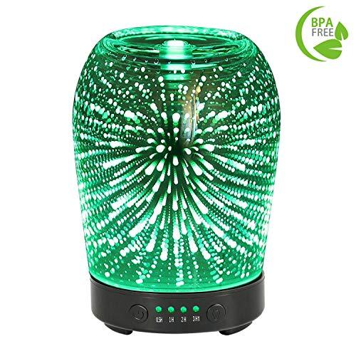 Aroma Diffusor 100ML Humidifier Glas 3D Feuerwerk Muster ätherisches Öl Diffusor mit 7 LED Farbwechsel & 4 Zeiteinstellung für Hause Büro SPA Schlafzimmer und Wohnzimmer (3D Feuerwerk Muster)