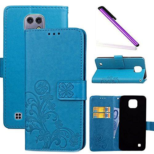 COTDINFOR LG X Cam Hülle für Mädchen Elegant Retro Premium PU Lederhülle Handy Tasche im Bookstyle mit Magnet Standfunktion Schutz Etui für LG X Cam Clover Blue SD