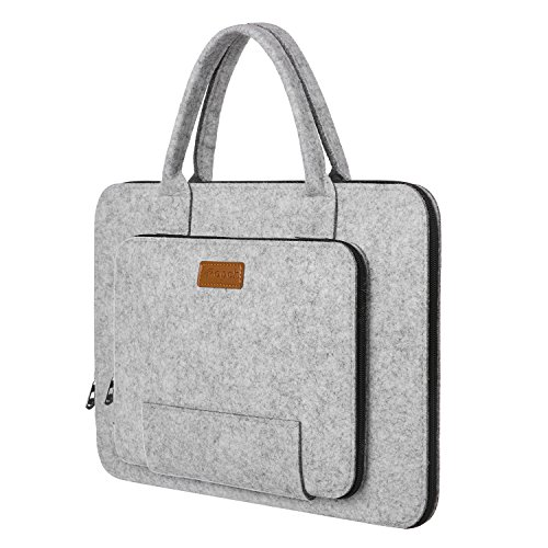 Ropch Laptoptasche 17.3 Zoll Notebook Hülle Sleeve Filz Notebooktasche mit Griff für 17,3 Zoll Dell / HP / Lenovo - Grau & Schwarz