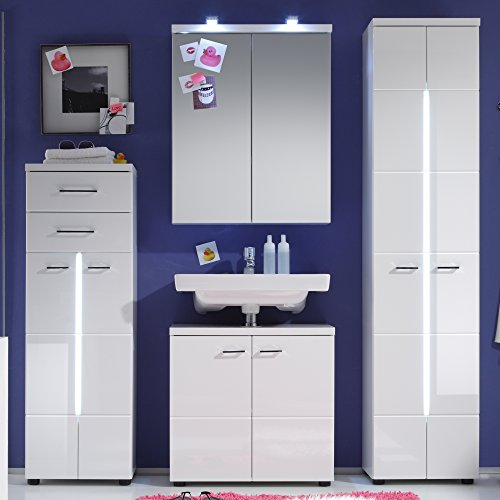 Trendteam Bad Waschbeckenunterschrank, Weiß Hochglanz - 5