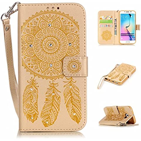 S6 Edge Custodia, Galaxy S6 EDGE Portafoglio in pelle, M. JVisun strass Dream Catcher in pelle + morbida in silicone con tracolla di tasca custodia Flip Case per Samsung Galaxy S6 EDGE G925, Gold, For Samsung Galaxy S6 Edge G925