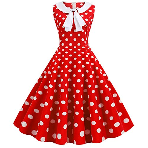 Prom Paar Outfit Ideen - Vectry Damen Vintage Kleider Elegantes Punktmuster