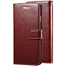 nkarta Samsung Galaxy J7 Next (2017 Launched) Vintage Leather Wallet Flip Book Cover Case - Brown