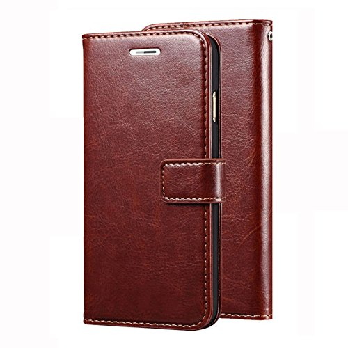 nKarta Vintage PU Leather Wallet Book Cover Case for Lenovo Vibe K5 & K5 Plus (Brown)