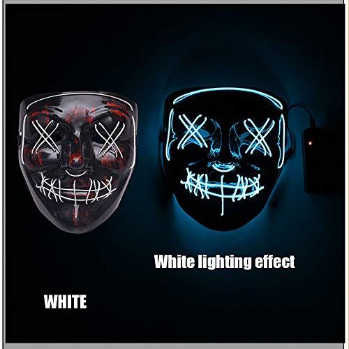 LED Halloween Maske, Leuchten Maske Scary Horror Glowing Mask Cosplay Kostüm Für Erwachsene Für Ghost Festival/Halloween/Weihnachten/Lagerfeuer Party/Party/Spiel/Geschenk,Weiß (Lagerfeuer Kostüm)