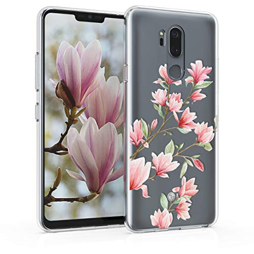 kwmobile LG G7 ThinQ/Fit/One Hülle - Handyhülle für LG G7 ThinQ/Fit/One - Handy Case in Rosa Weiß Transparent