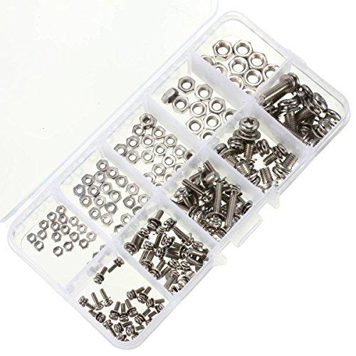 ELEGIANT Schrauben und Muttern, M2 M2,5 M3 M4 M5 Stahl-Schrauben/Nuss Sortiment Kit, SEM Phillips Flachkopfschrauben 160pcs