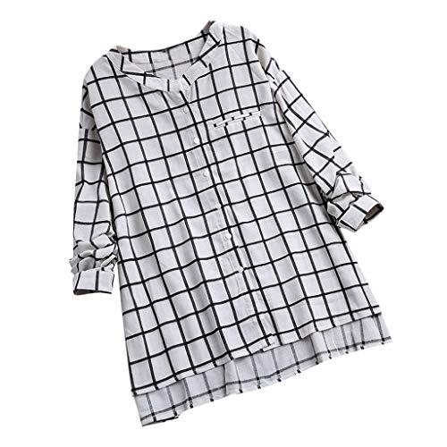 Langarm Belted Tunika Shirt (VWsiouev Frauen Plus Size Plaid V-Ausschnitt Button Down Langarm Casual Lange Tunika Tops T-Shirt Bluse Shirt Bluse)