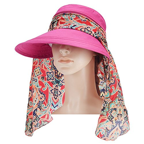 Macbag Chapeaux de visière pour femme Protection UV Chapeaux de soleil d'été Brim Cap (Rosé 2)