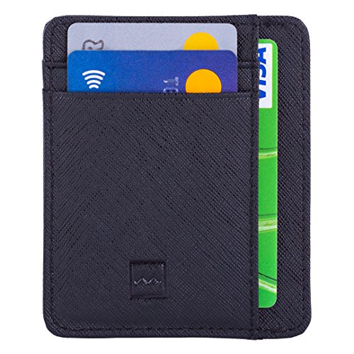 Portafoglio Piccolo Uomo - Mini Porta Carte di Credito Anti RFID, Regalo Perfetto per gli Uomini, Sottile Porta Tessere, 7 Tasche Per la Carte, Materiale di Qualità Superiore in PU Pelle - Mercor