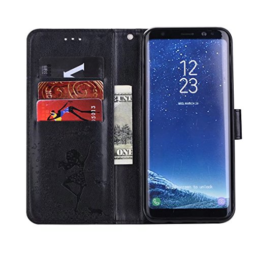 Abnehmbare 2 in 1 Crazy Horse Texture PU Ledertasche, Fairy Girl Embossed Pattern Flip Stand Case Tasche mit Lanyard & Card Cash Slots für Samsung Galaxy S8 ( Color : Rosegold ) Black