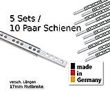 10 Stück (5 Satz) Schubladenschienen Teilauszug Rollenauszug Teleskopschiene Kugelführung L 310 mm Nut 17x10mm - LIVINDO