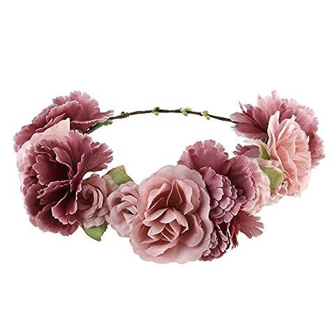 ULTNICE Brautbrautjungfern-Blumen-Stirnband Boho Blumenhaar-Dekoration für Hochzeits-Geburtstag-Partei