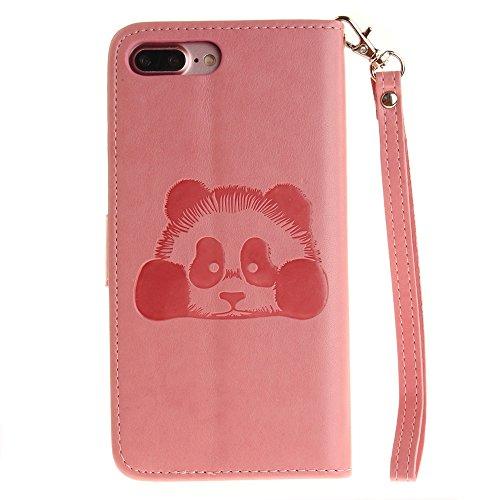 iPhone Case Cover Solid Color 3D Cute Panda Embossed Housse en cuir PU avec Lanyand Card Slots pour IPhone 7 Plus ( Color : 1 , Size : IPhone 7 Plus ) 6
