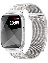 Naomo Kompatibel mit Watch Armband 42mm/44mm, Weiches Nylon Ersatz Uhrenarmband Ersatz für Watch Series 4, Series 3, Series 2, Series 1 (42mm/44mm, Reflektierend Weiß)