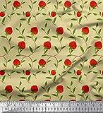 Soimoi Beige Satin Seide Stoff Blätter & Erdbeere Obst