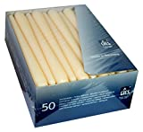 50 Premium -Spitzkerzen / Leuchterkerzen, champagner - creme, mit erhöhtem Stearinanteil, 245 x 23,5 mm