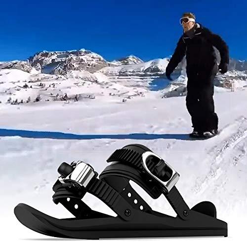 Aegilmcshoes Bindung Skischuh Verstellbar, Mini Ski Skates for Snow, Erwachsene Schneestiefel Ski Skischuh, Rostfreier Stahl Schwarz Unisex Tragbar Short Skiboard Snowblades Verstellbar