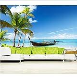 Personalizar Papel Tapiz 3D Mural, Barcos Cielo Tailandia Palma Naturaleza, Habitación De Hotel Restaurante Sala De Estar Tv Sofá Pared Dormitorio (W)300x(H)210cm