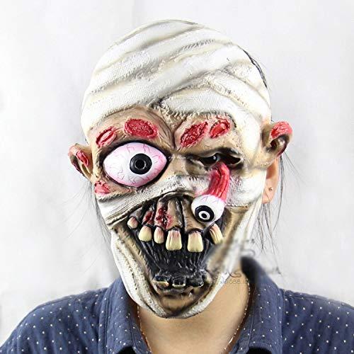 KYX-GAOMOUREN Halloween Explosion Augen Mumie Halloween Weihnachten Leistung Requisiten Soft Ghosts Horror Maske
