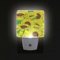 COOSUN Sunflowers Pattern Plug in LED Night Light Auto Sensor Smart Dusk to Dawn Decorative Night for Bedroom, Bathroom, Kitchen, Hallway, Stairs,Hallway,Baby
