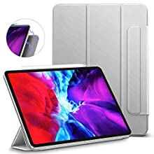 "ESR Rebound Magnetic Smart Case for iPad Pro 12.9"" 2020/2018, Convenient Magnetic Attachment, Auto Sleep/Wake Trifold Stand Case - Silver Grey"