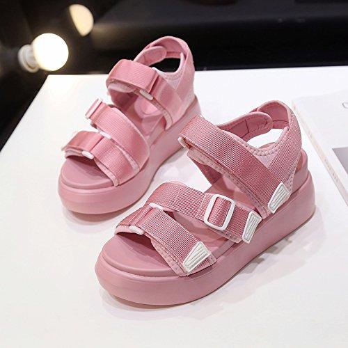 Lgk & fa estate sandali da donna estate di spessore scarpe da donna stile sandalo col tacco alto studenti Marea Upgrade Pink