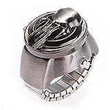 Ecloud Shop 25mm El anillo de dedo retro de bronce antiguo pirata Clamshell metal elástico reloj