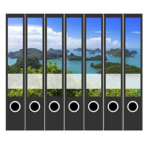 7 x Akten-Ordner Etiketten/Design Aufkleber/Rücken Sticker/Urlaub, Mauritius, blaues Meer/für schmale Ordner/Ordnerrücken selbstklebend / 3,7 cm schmal, dünn