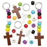 """Schlüsselanhänger-Bastelsets """"Christliche Farben"""" für Kinder als Bastel- und Deko-Idee zu Ostern für Jungen und Mädchen (4 Stück)"""