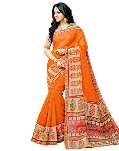DesiButik's Divine Orange Kota Checks Saree