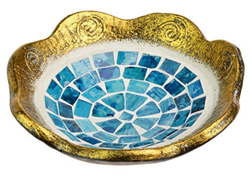 Piquaboo Mosaic Spectrum Candle Plate Key Coin Soap Dish (Gold Blue)