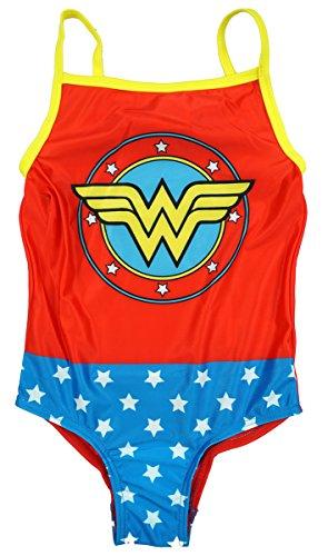 Oficial Niña Dc Comics Wonder Woman Bañador de natación tallas desde 2A 6 años - Multicolor, 3 - 4 Years