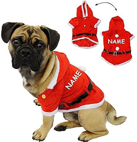 """Kostüm Weihnachtsmann - """" Hund """" - incl. Name - Weihnachtsjacke für Hunde - Weihnachtskostüm / Karneval / Weihnachten / Nikolauskostüm / Nikolaus - Jacke - Mantel & Gürtel - Fasching + Halloween - Hundekostüm Weihnachtsmannkostüm - Bekleidung / Hundemantel - Haustiere - Katzen"""