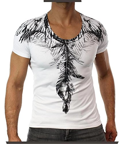 #2097 KINGZ Herren Designer Shirt T-Shirt Baumwolle Feder Tiger Schwarz Weiss S M L XL XXL Weiß