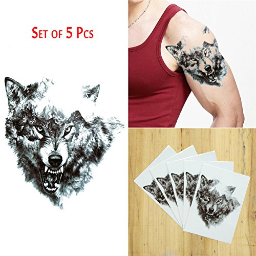 COKOHAPPY 5 Sheet Temporäre Tattoo Groß Tattoo Heftig Wolf Flash Tattoo