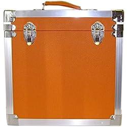 Steepletone - Caja de DJ para LPs y discos de vinilo, 30 x 30 x 20 cm, color naranja