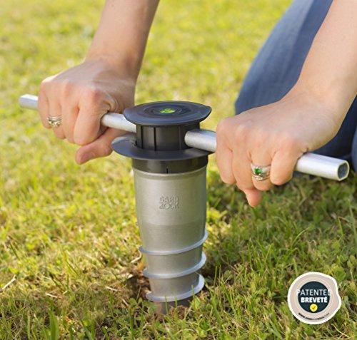 GARD & ROCK - BASE D'ANCRAGE en aluminium, affleurant le sol - Multi-terrains à visser ou à sceller - Quick Fixation System