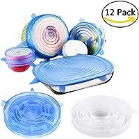 Tapas de Silicona, 12paquetes sello alimentos Stretch Wrap reutilizable con tapa, resistente al calor, varios tamaños y formas de contenedores, apto para microondas y lavavajillas.