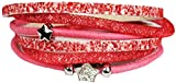 Mevina Damen Strass Armband Wickelarmband Leder Stern Magnetverschluss Shamballa Sternarmband Rot A1207